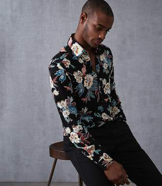 Reiss Vogal Long Sleeved Floral Printed Shirt