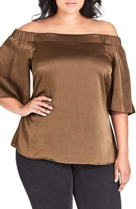 City Chic Off the Shoulder Satin Blouse