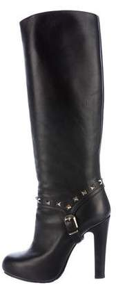 Valentino Leather Rockstud Boots