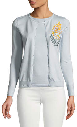 Zac Posen Cashmere Silk Button-Front Embroidered Cardigan