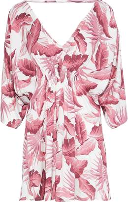 Onia Alessandra Shirred Printed Voile Cover-up