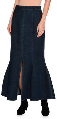Stella McCartney Ivy Fluted Slit-Front Denim Maxi Skirt, Dark Blue