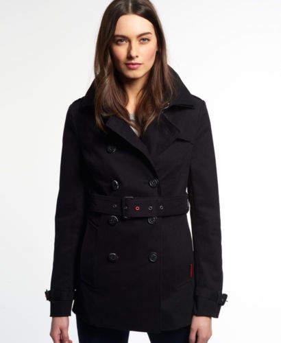Neue Damen Jacke Belle Trenchcoat Schwarz