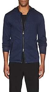John Varvatos Men's Jersey-Trimmed Linen-Blend Zip-Front Hoodie-Blue