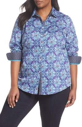 Foxcroft Ava Medallion Combo Print Shirt