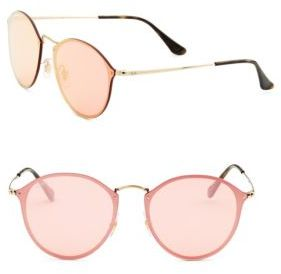 Ray-Ban 59mm Blaze Mirrored Round Sunglasses $195 thestylecure.com