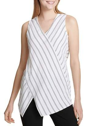 Calvin Klein Sleeveless Asymmetric Pinstriped Top