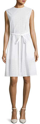 Calvin Klein Crewneck Sleeveless Embroidered Cotton Dress
