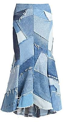Junya Watanabe Women's Patchwork Denim Flare Skirt