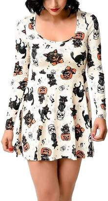 Ruiyige Womens Halloween Dress Pumpkin Ghost Print Flared Swing Mini Dress