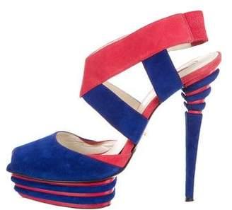 Cesare Paciotti Suede Peep-Toe Sandals