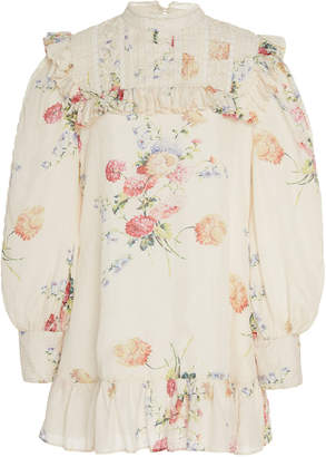 LoveShackFancy Saffron Ruffle-Trimmed Floral-Print Silk Dress Size: 4
