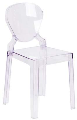 Flash Furniture Ghost Chair in Transparent Crystal with Tear Back