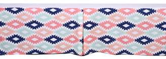 Bacati Emma Aztec Kilim Aqua/Orange/Navy Tailored with 100% Cotton Percale 13 inch drop Crib/Toddler Bed Skirt