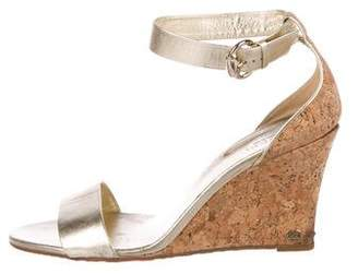 Gucci Metallic Ankle-Strap Wedges