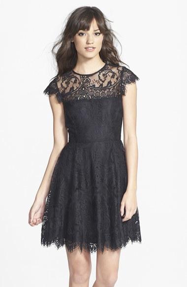BB Dakota Women's 'Rhianna' Illusion Yoke Lace Fit & Flare Dress
