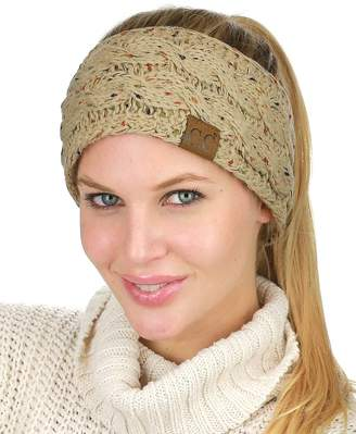 C.C Colorful Confetti Winter Warm Cable Knit Fuzzy Lined Ear Warmer Headband
