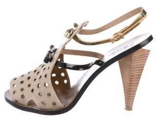Fendi Woven Ankle Strap Sandals