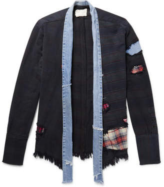 Greg Lauren Denim-Trimmed Patchwork Cotton-Jersey Kimono