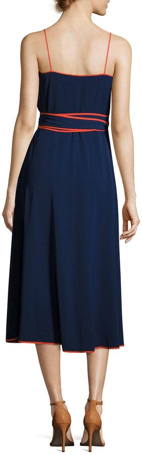Tory Burch Grotto Contrast-Trim Wrap Slip Dress, Navy 2