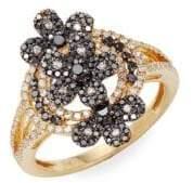 Effy 14K Yellow Gold, White & Black Diamond Ring