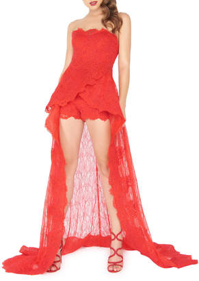 Mac Duggal Lace Strapless Train-Back Romper Gown