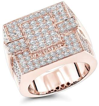 14k Rose Gold Mens Pave Diamond Ring 4 Carats of Diamonds Ring