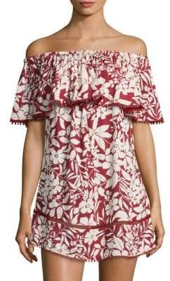 Red Carter Off-The-Shoulder Cotton Coverup
