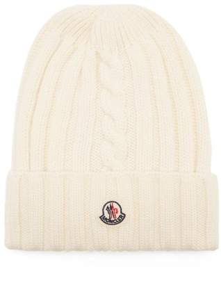 Moncler Rib Knit Wool Beanie Hat - Womens - White 53c8857278