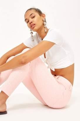 Topshop Pink Diamante Jamie Jeans