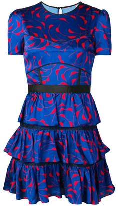 Self-Portrait patterned ruffle dress