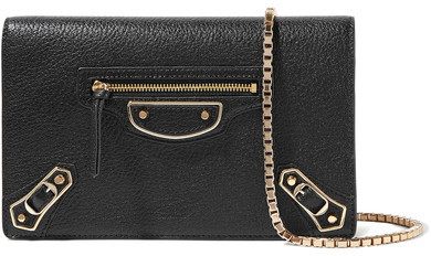 Balenciaga  Balenciaga - Metallic Edge Chain Textured-leather Wallet - Black