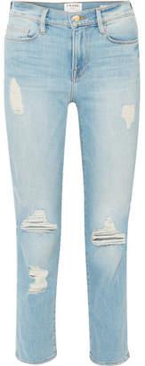 Frame Le Nouveau Distressed High-rise Straight-leg Jeans - Mid denim