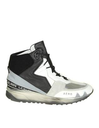 Leather Crown aero Sneakers In White Leather With Silver And Black D