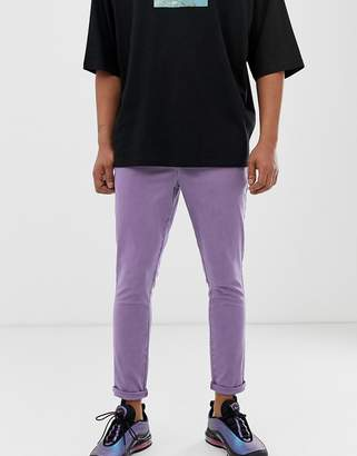 Asos Design DESIGN super skinny ankle grazer chinos in washed lilac