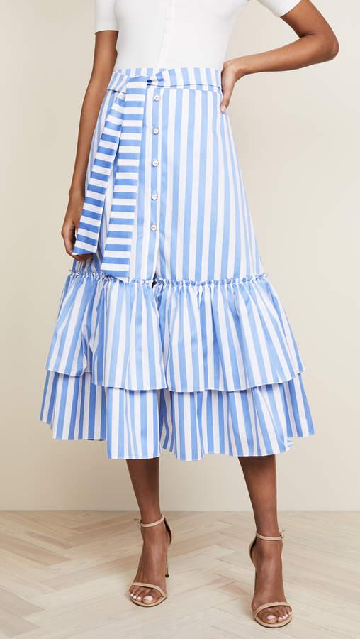 Tie Midi Ruffle Skirt