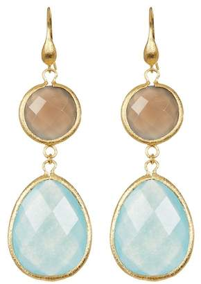 Rivka Friedman 18K Gold Clad Round Grey Chalcedony & Caribbean Blue Quartzite Teardrop Double Dangle Earrings