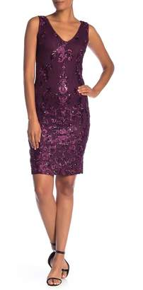Marina Sleeveless Embroidered Sequin Accent Dress
