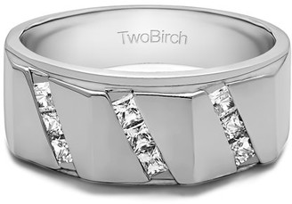 TwoBirch Brilliant Moissanite Mounted in Sterling Silver Brilliant Moissanite Channel Set Men's Ring With Bars(0.47crt)