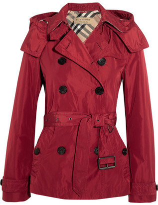 Burberry - Balmoral Hooded Shell Trench Coat - Red $750 thestylecure.com