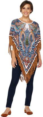 Women With Control Attitudes by Renee Printed Fringe Sweater Poncho