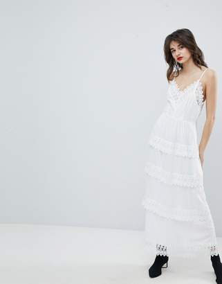 Vero Moda Dobby Spot Maxi Dress With Crochet Detail