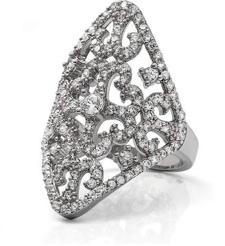 FINE JEWELRY Cubic Zirconia Sterling Silver Filigree Ring