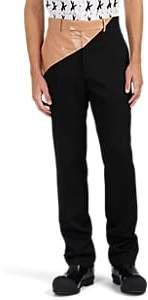 Calvin Klein Men's Coated-Cotton-Waist Wool Slim Trousers - Black