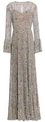 Mikael Aghal Pleated Floral-print Georgette Gown