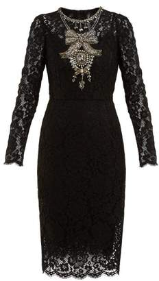Dolce & Gabbana Crystal Embellished Guipure Lace Dress - Womens - Black