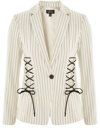 Topshop Striped corset detail blazer