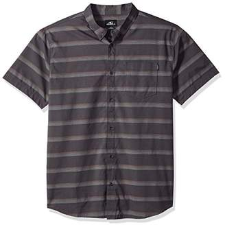 O'Neill Men's Standard Fit Stripe Short Sleeve Stretch Woven Shirt