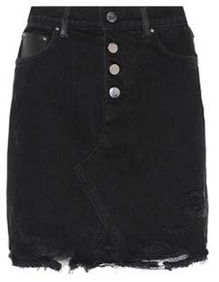 Amiri Leather and denim miniskirt