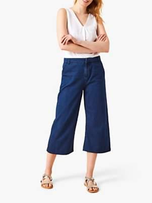 White Stuff Denim Cotton Culottes, Blue